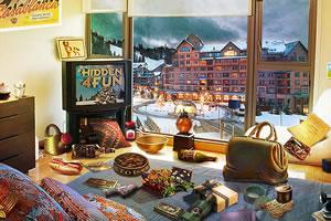 暴风雪覆盖的村庄