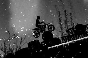 雪天黑夜摩托