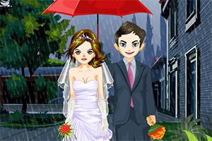 雨中浪漫婚礼