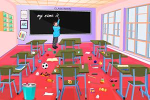 顽皮小女孩清理教室