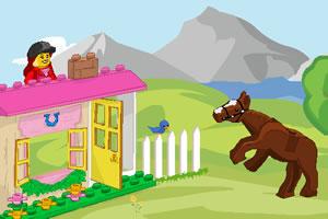乐高大姐喂马