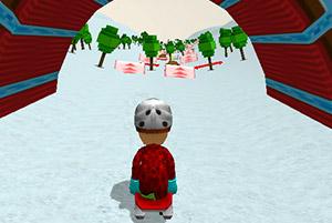 小男孩雪山滑雪