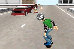 滑板少年道路冲刺