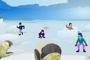 雪地里打雪仗