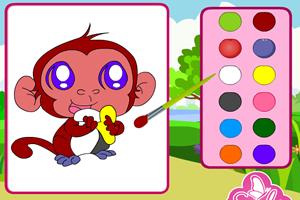 顽皮的猴子填颜色