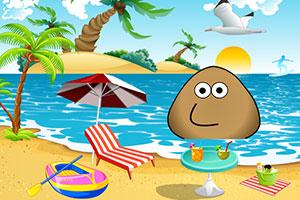 土豆君在沙滩度假