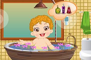 小宝贝爱洗澡