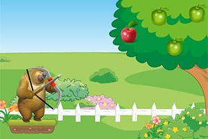 熊二弓箭射苹果