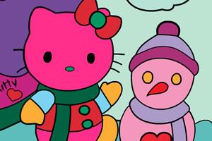 凯蒂猫圣诞图片上色