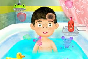 小孩爱浴室