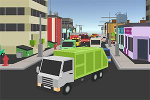 停靠城市垃圾车