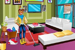 小狼人清理客厅