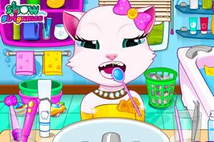 安吉拉汤姆猫爱护牙齿