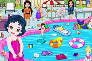 小宝贝清理游泳池