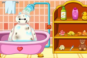 给大白洗澡