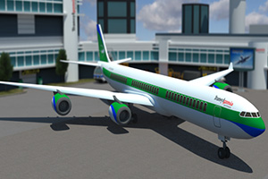 现代客机停靠
