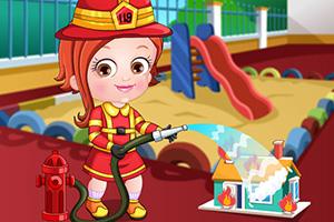 可爱宝贝当消防员