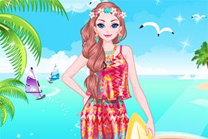 女孩的夏季沙滩