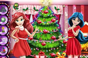 迪士尼公主装扮圣诞树