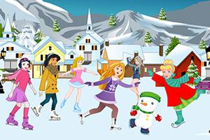 迪士尼公主布置滑雪场