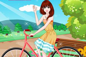 夏丽骑自行车