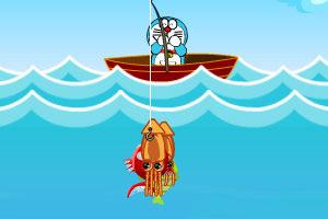 哆啦A梦去钓鱼