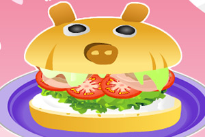 制作猪腿汉堡