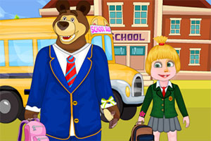 玛莎和熊去学校