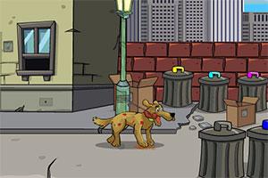 受伤的狗逃跑