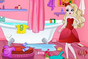 苹果公主打扫浴室
