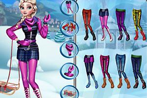 公主雪山滑雪装扮