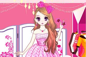 森迪的粉红芭比装扮