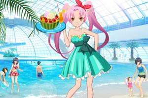 海边少女的水果甜品