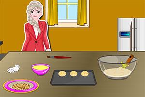 埃尔莎制作饼干