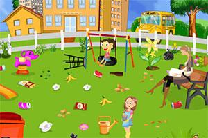 学校花园的清洁