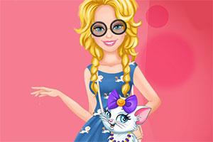 时尚的芭比和猫