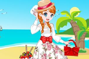 元气少女海边野餐