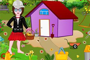 小女孩清洁公园