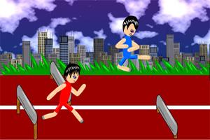 双人跨栏赛跑