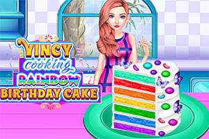 彩虹生日蛋糕