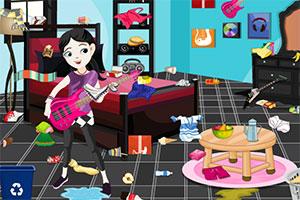 女孩清洁音乐室