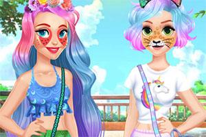 女孩的动物时尚装